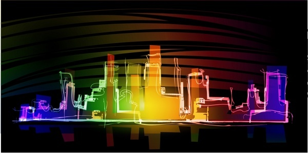 city background colorful sparkling light effect sketch