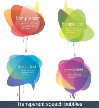 decorative tags templates colorful transparent deformed speech bubbles