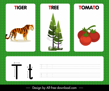 t alphabet teaching template tiger tree tomato icons