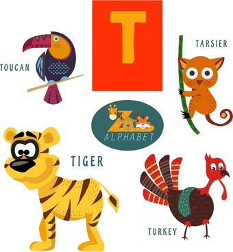 t letter education design with cute animals