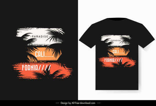 t shirt decor template dark beach scene sketch