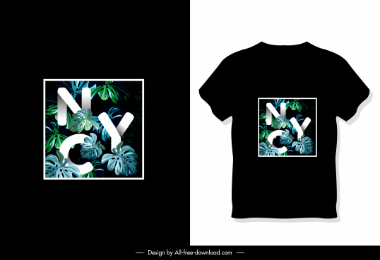 t shirt decor template dark leaves texts sketch