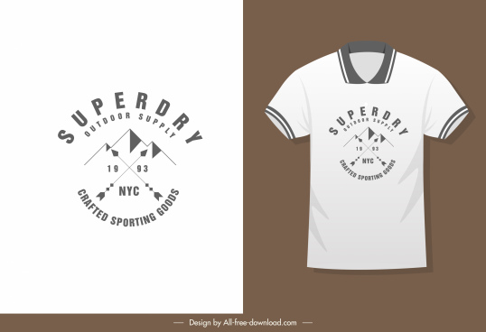 t shirt decor template flat mountain sketch