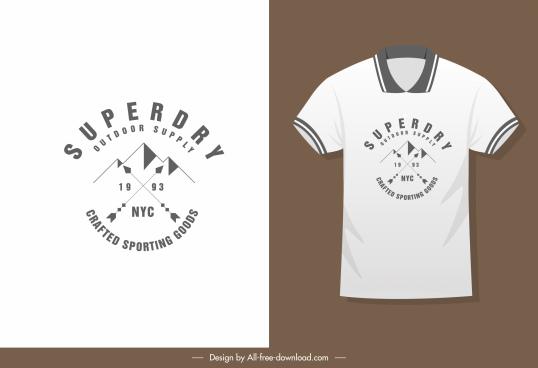 t shirt decor template flat mountain sketch