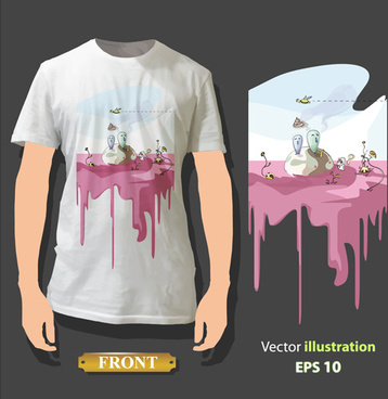 t shirt front and back creative design vector set