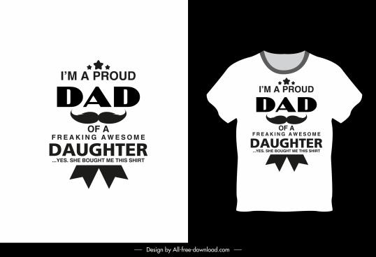 t shirt template dad daughter theme texts decor