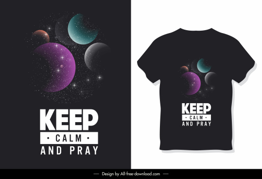 t shirt template dark colorful modern planets decor