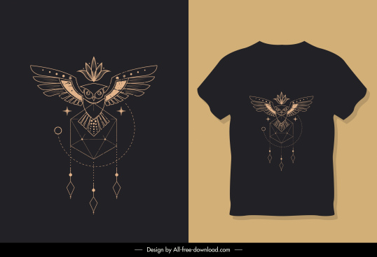 t shirt template dark ethnic design symmetric decor
