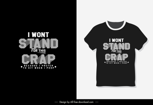 t shirt template message quote dark design
