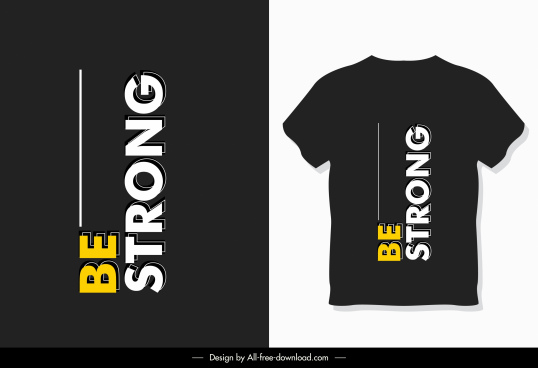 t shirt template modern dark black texts decor