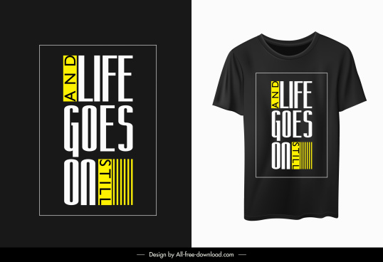 t shirt template modern elegant dark quotation texts