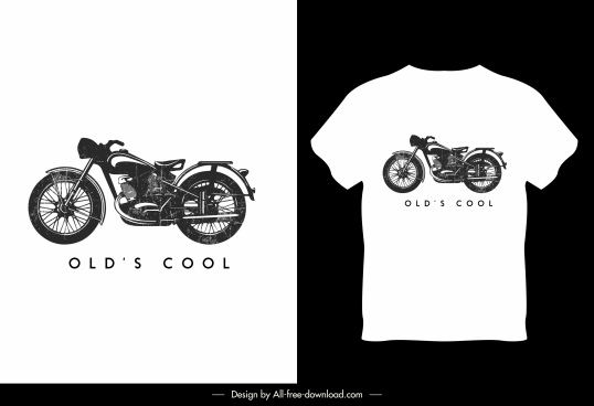 t shirt template motorbike sketch black white decor