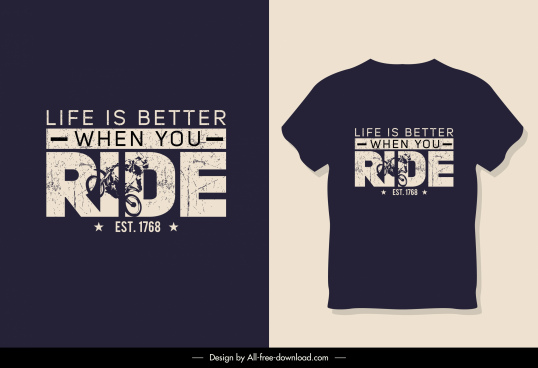 t shirt template ride theme dark retro design