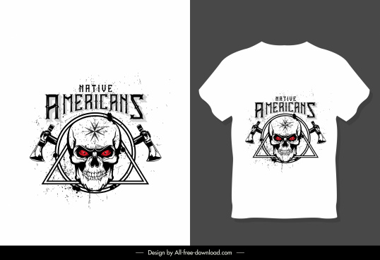 t shirt template white symmetric design skull decor