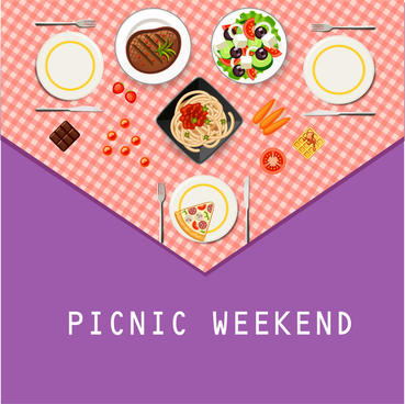 table cloth for picnic with different dishes