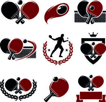 table tennis logos illustration design vector