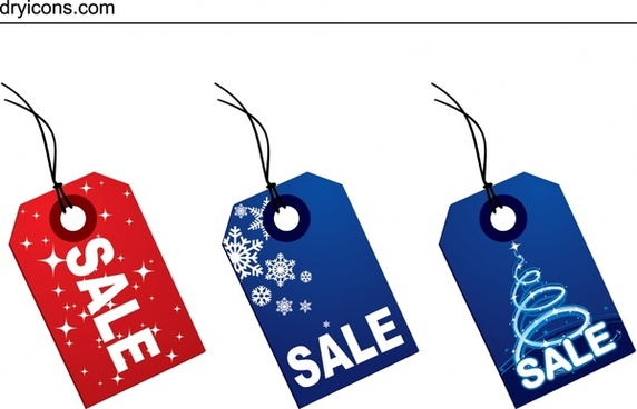 christmas sales tags templates modern red blue design