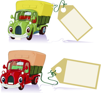 tag car cartoon vector set