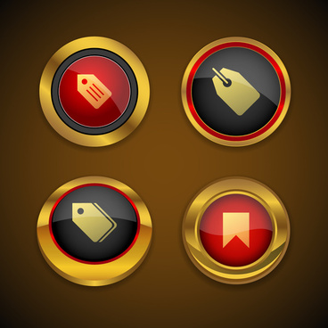 tag gold icon button