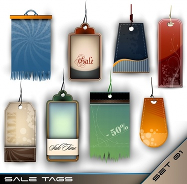 sale tags templates colored modern vertical shapes