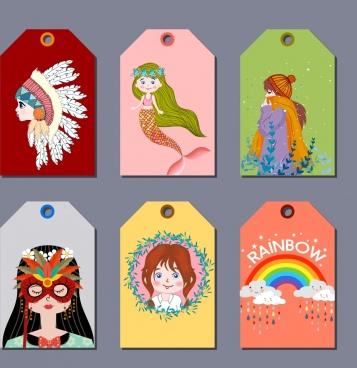 tag templates girl rainbow tribe mermaid mask icons