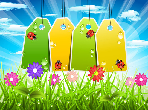 tags and spring background art vector