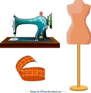 tailor design elements sewing machine ruler mannequin icons