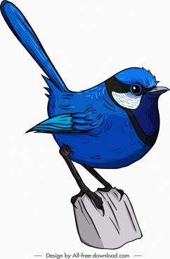 tailorbird icon cute cartoon sketch blue decor