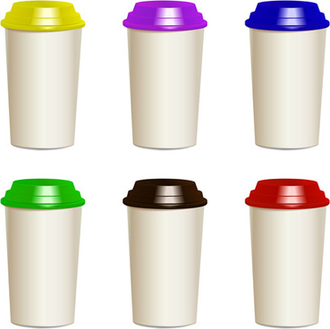 take away paper cups vector set