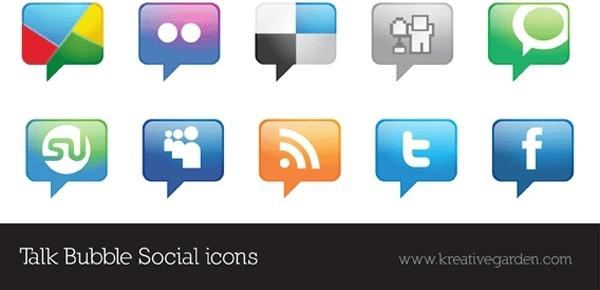 Talk Bubble Vector Social Icons Set