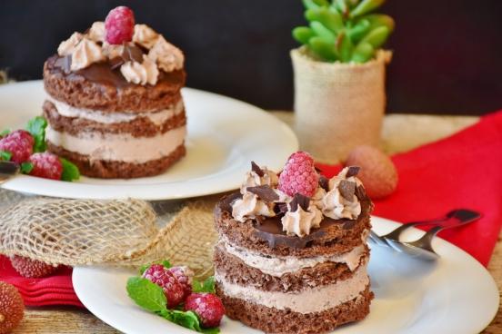 closeup of delicious fruit cream cakes