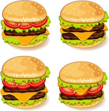 tasty burgers icons vector graphics