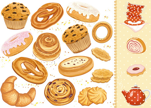 tasty cakes and biscuits vector