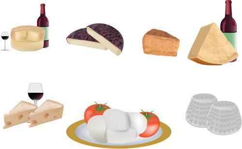 tasty cheese food vector set