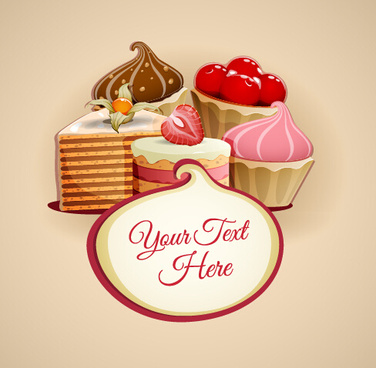 tasty dessert and sweets background vector