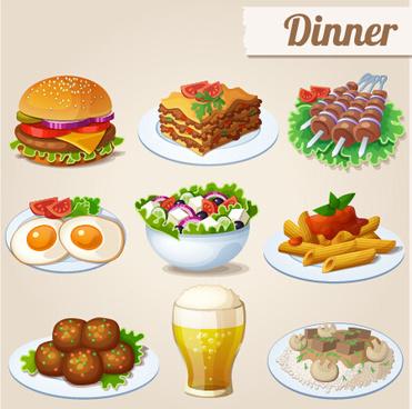tasty dinner icons design vector