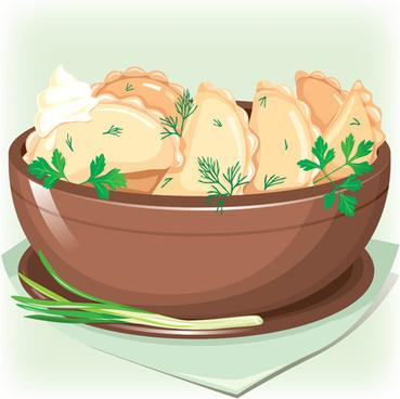 tasty dumplings design elements vector