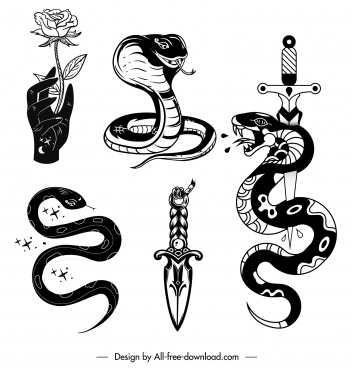tatoo elements icons classic snake sword rose sketch