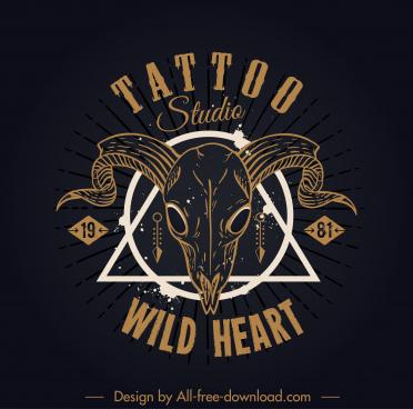 tatoo studio logotype handdrawn bull skull dark retro