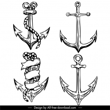 tattoo anchor icons black white handdrawn vintage