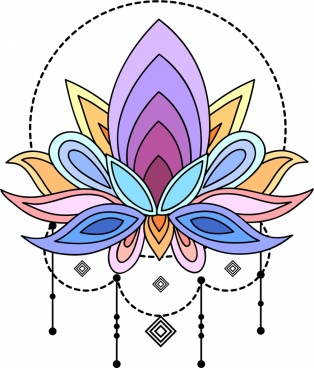tattoo template colorful lotus sketch