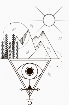 tattoo template sun mountain eye sketch tribal geometry