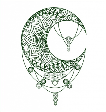 tattoo template tribal crescent decoration