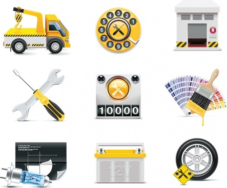car services icons colored modern symbols realistic design
