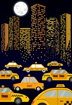 taxi advertisement cars moonlight city buildings icons