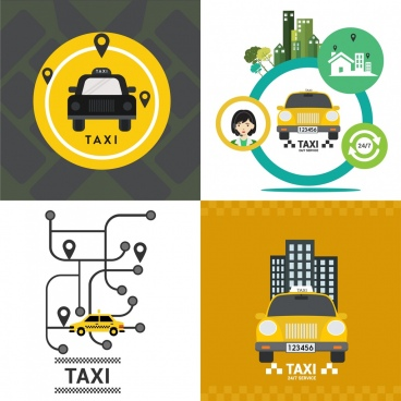 taxi advertisement sets yellow car navigation service icons