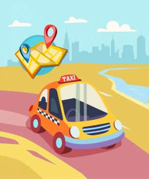 taxi advertising banner car map icons colorful design