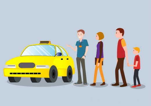 taxi advertising car passengers icons colored 3d design