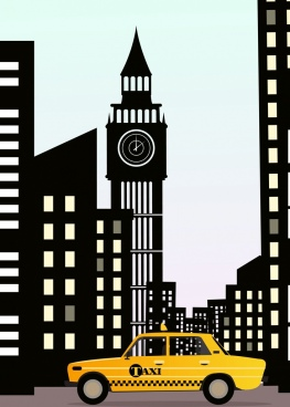 taxi advertising yellow car black buildings icons