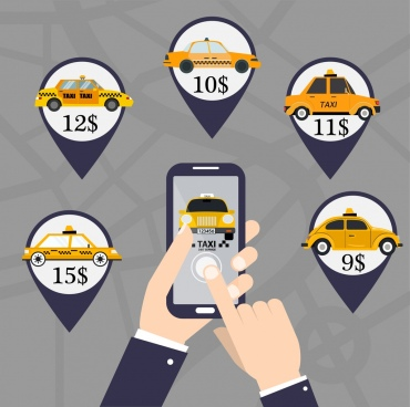 taxi application advertising banner smartphone car price icons
